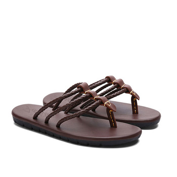 Mens Flip Flops Sandals Genuine Leather Casual Men Shoes Summer Fashion Beach Flip Flops Male Summer Slippers Slide Sandals sandals men shoes summer 2020 beach gladiator fashion men s outdoor sandals men shoes flip flops sandals flat large size