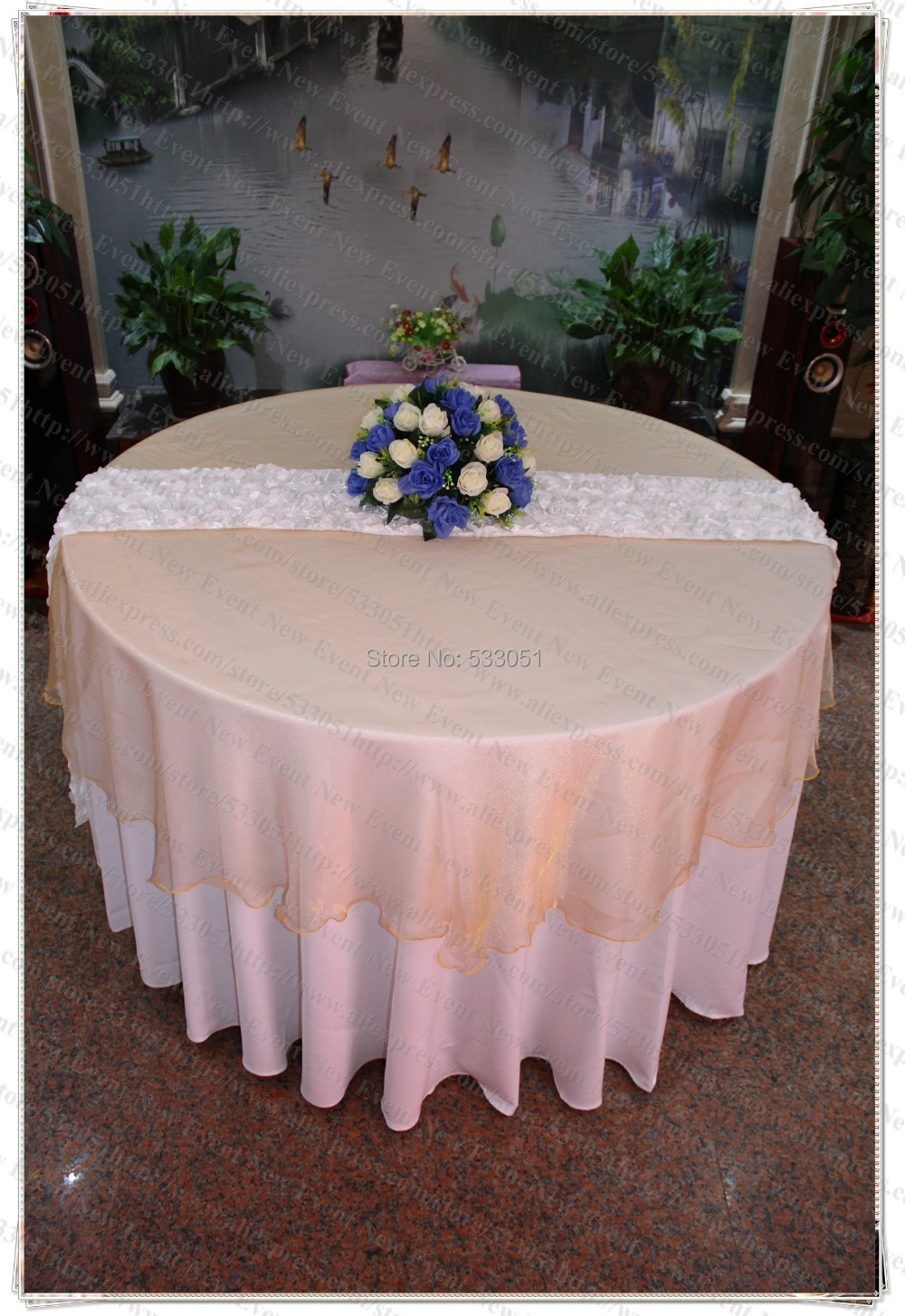 Table Pour 6 Us 68 180cm Round No 6 Gold Color Organza Table Overlay Table Cover Tablecloth For Wedding Party Home Hotel Banquet Decorations In Tablecloths