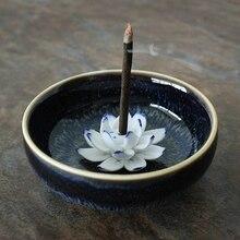 From China Jingdezhen Lotus Ceramic Incense Burner Hand Made Stick Holder Craft Home Decor Censer Sandalwood