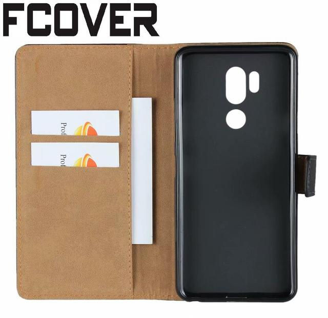 quality design af955 f0f1d US $5.47 |For LG G7 ThinQ Leather Case Genuine Leather Book Kickstand  Protection Card Shell Wallet Flip Cover -in Flip Cases from Cellphones & ...