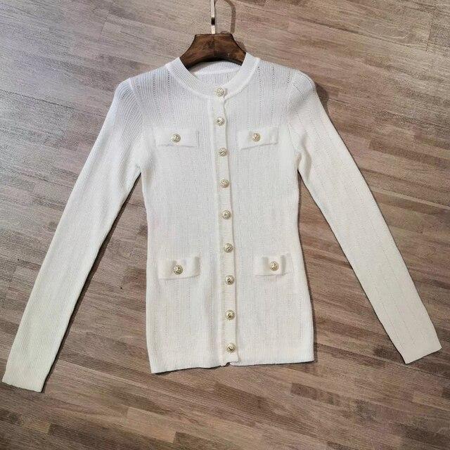 Femmes coton pull 2019 mode à manches longues simple boutonnage 0 cou dame  haute qualité Cardigans pour de fête