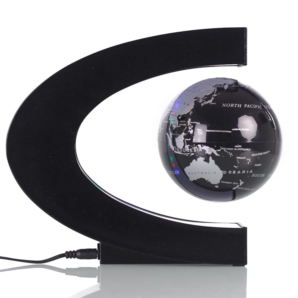 Creative C Shaped Magnetic levitation Globe Office Desk Ornaments Arts and Crafts Anti-Gravity Globe Crafts With LED lights BS
