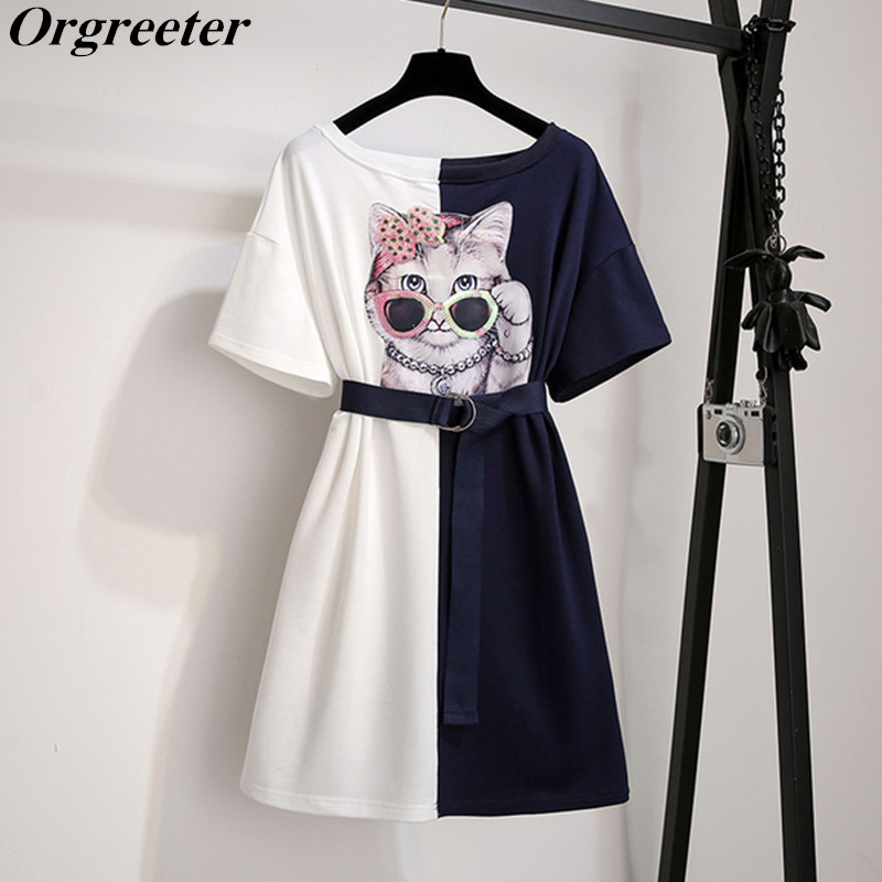 Women Knee-length Dress Summer Sequined Glasses Cat Appliques White Blue Patchwork Loose Casual Cute T shirt Dresses With Belt