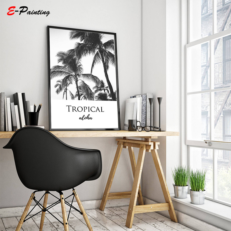 Us 4 12 29 Off Palm Trees Print Tropical Wall Art Home Decor Large Printable Poster Aloha Minimal Beach Modern Black And White Canvas Painting In