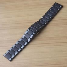 Керамический ремешок для часов Ремешок для часов черный браслет наручные часы полосы 20 мм 22 мм Бабочка Пряжка для samsung gear S2 S3 матовый полированный