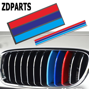 ZDPARTS 1PC 3D Car Front Grille Reflective Strip Stickers For BMW E46 E39 E90 E60 E36 F30 F10 E34 X5 E53 X6 E92 M Logo 3 Color image