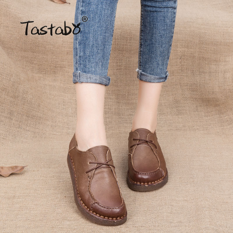 Tastabo Fashion Solid Black Women Shoes Woman Handmade Casual Shoes Genuine Leather Soft Flat Driving Shoes