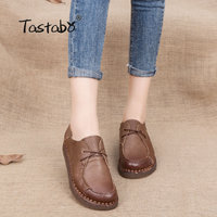 Tastabo Fashion Solid Black Women Shoes Woman Handmade Casual Shoes Genuine Leather Soft Flat Driving Shoes Women Flats