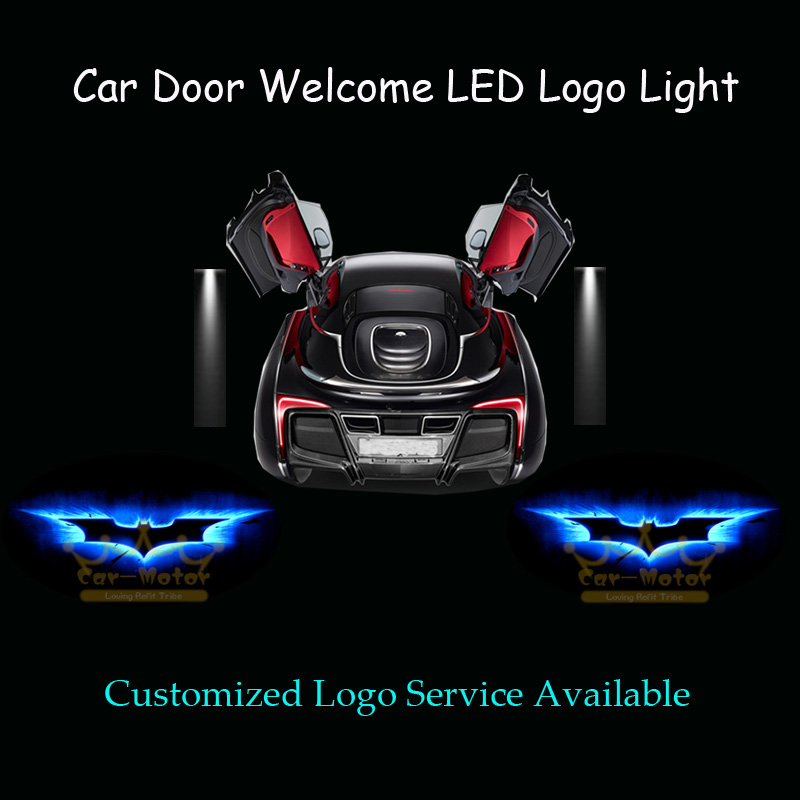 2x 3D Blue Dark Knight Batman Logo Car Door Welcome Courtesy Laser Projector Ghost Shadow Puddle Spotlight LED Light (1019) 2 x wireless led car door logo projector welcome ghost shadow light for suzuki swift sx4 s cross jimmy alto celerio grand vitara