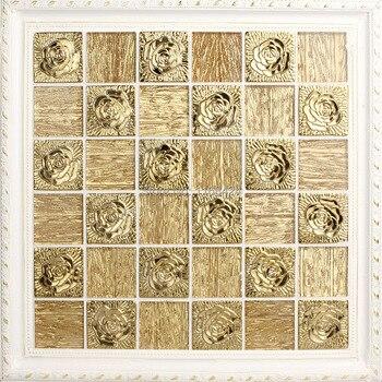 Dosseret En Verre Mosaïque | Métallique Or Mosaïque De Verre EHM1065 Pour Dosseret Tuile Bloc De Bois Antique Panneaux Support De Maille Mur Et Le Plancher