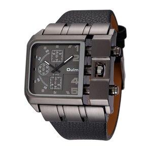 Image 5 - Oulm 3364 Casual Wristwatch Square Dial Wide Strap Mens Quartz Watch Luxury Brand Male Clock Super Big Men Watches montre homme