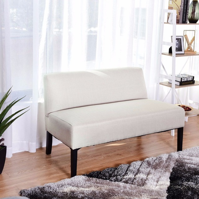 Living Room Settee Benches Paint Color Ideas For Small Giantex Armless Loveseat Sofa Fabric Bench Bed Chair Wooden Leg Home Furniture Hw59042