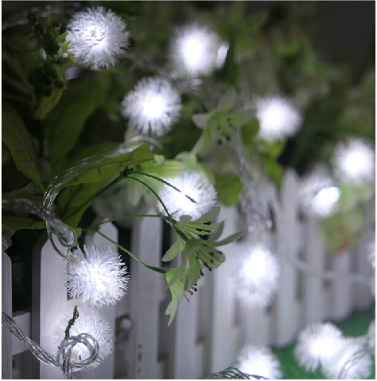 Luminaria 10M 50LED Ampoule Furry Ball String Lights Edelweiss Flocon - Éclairage festif - Photo 3