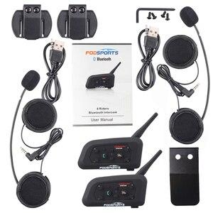 Image 5 - Fodsports 2 stücke V6 Pro Intercom Motorrad Bluetooth Helm Headset 6 Fahrer 1200M Motorrad Wireless BT Sprech