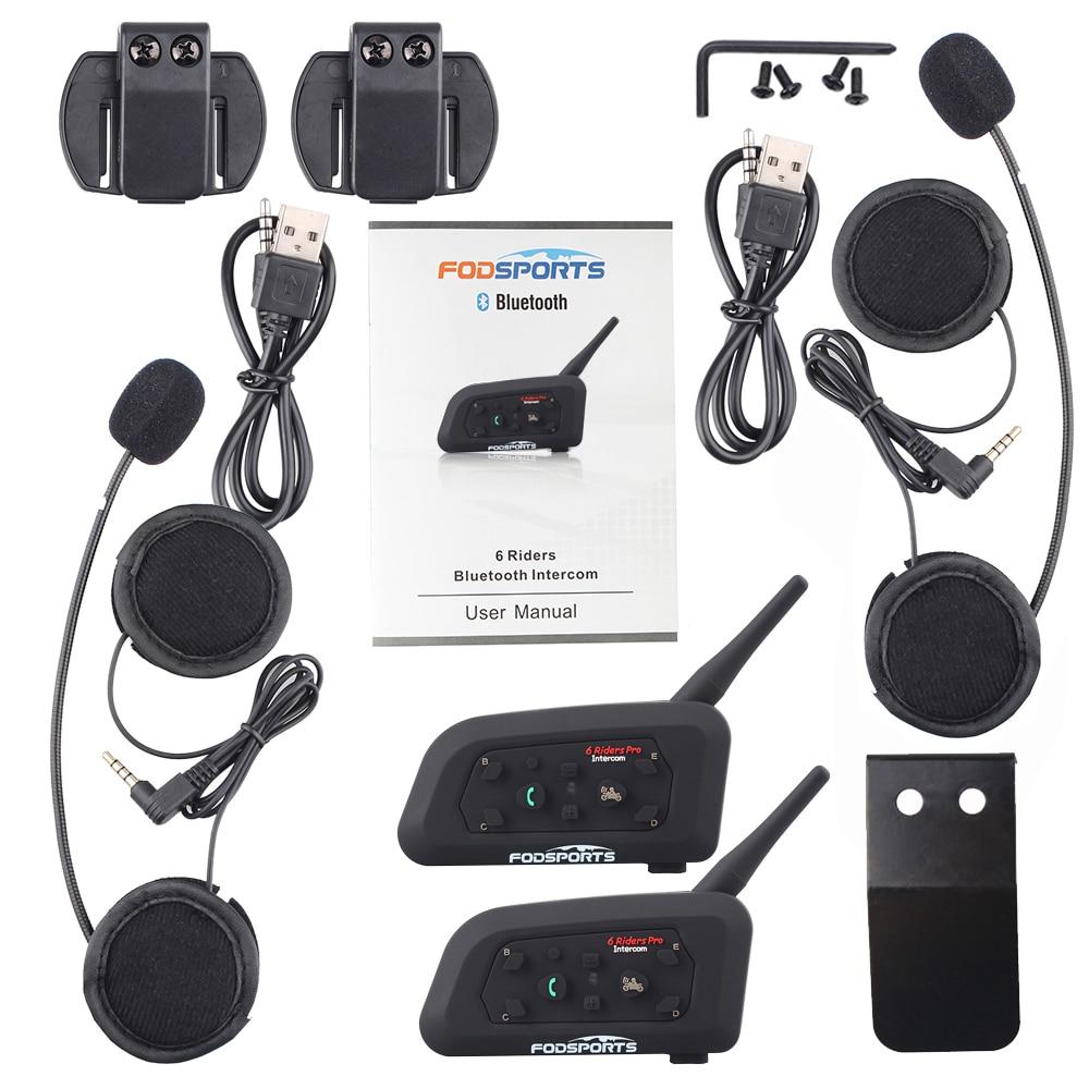 Image 5 - Fodsports 2pcs V6 Pro Intercom Motorcycle Bluetooth Helmet Headset 6 Riders 1200M Motorbike Wireless BT Interphone-in Helmet Headsets from Automobiles & Motorcycles