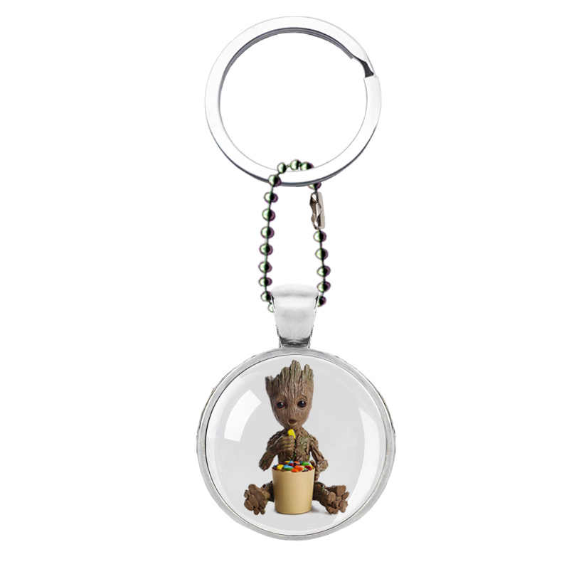 Baby Groot Guardian of the Galaxy Key Chains Key Rings Glass Groot Keychain Keyring Flower Pot Avengers 3 Action Figure Ornament