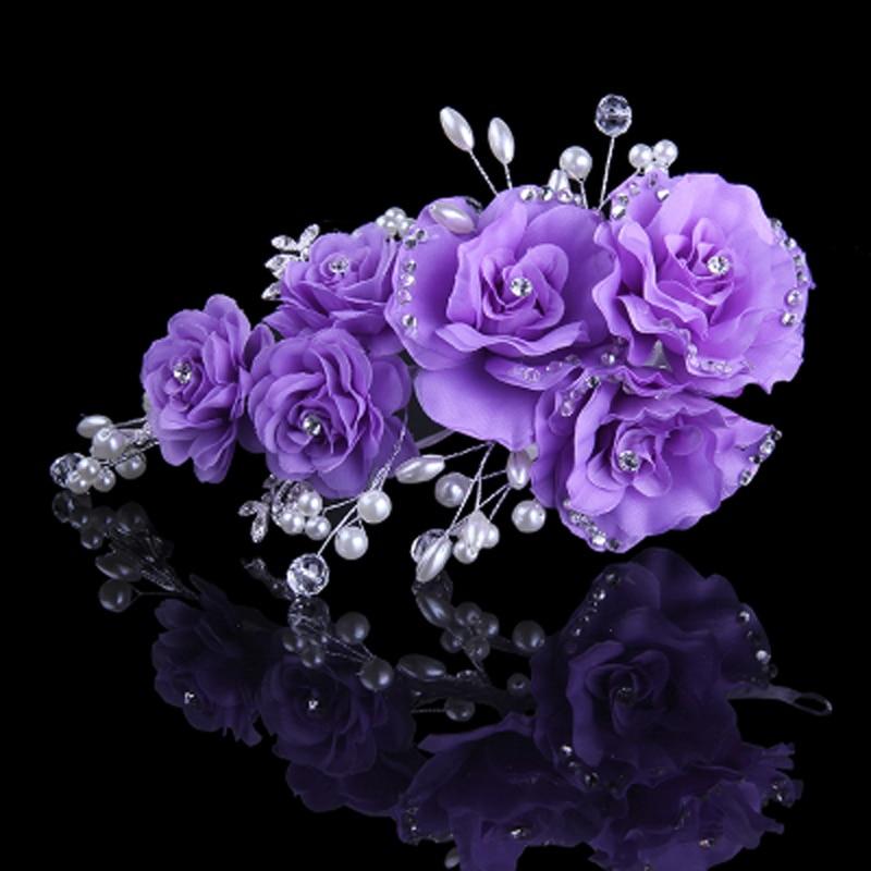 Pink Beige Blue Flower Clip mit exquisiten Hochzeit Braut Strass und - Modeschmuck - Foto 5