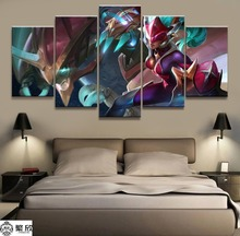 5 Panel LOL League of Legends Shyvana Game Canvas Printed Painting For Living Room Wall Art Decor HD Picture Artworks Poster