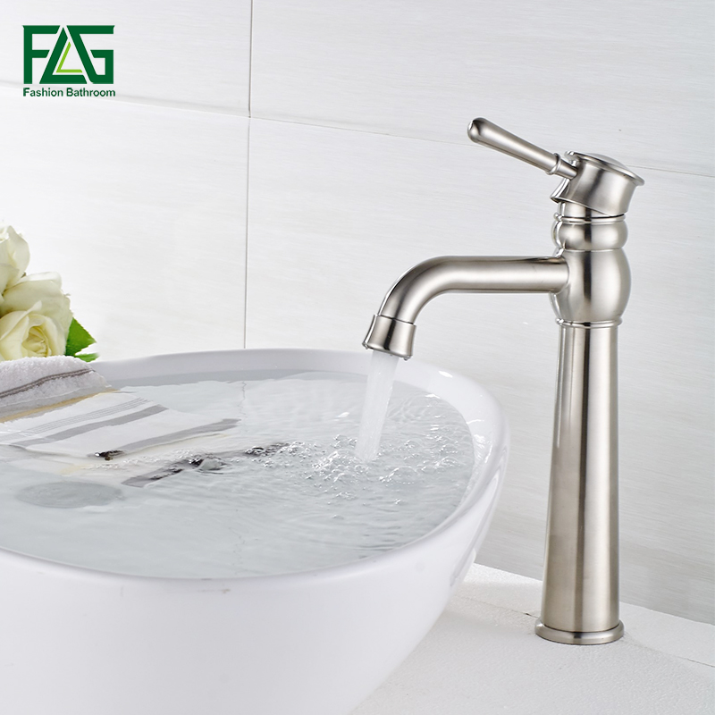FLG Bathroom Basin Faucet Single Handle Deck Mounted Vessel Sink Water Tap Cold and Hot Mixer Nickel Brushed Bathroom Tap SS004Y micoe hot and cold water basin faucet mixer single handle single hole modern style chrome tap square multi function m hc203