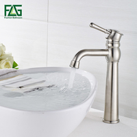 FLG Bathroom Basin Faucet Single Handle Deck Mounted Vessel Sink Water Tap Cold and Hot Mixer Nickel Brushed Bathroom Tap SS004Y