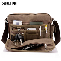 MELIFE Vintage Men S Messenger Bags Canvas Shoulder Bag Fashion Men Business Crossbody Bag Student Printing