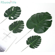 10pcs Artificial Tropical Palm Leaves Simulation Leaf For Hawaiian Party Jungle Beach Theme Decorations