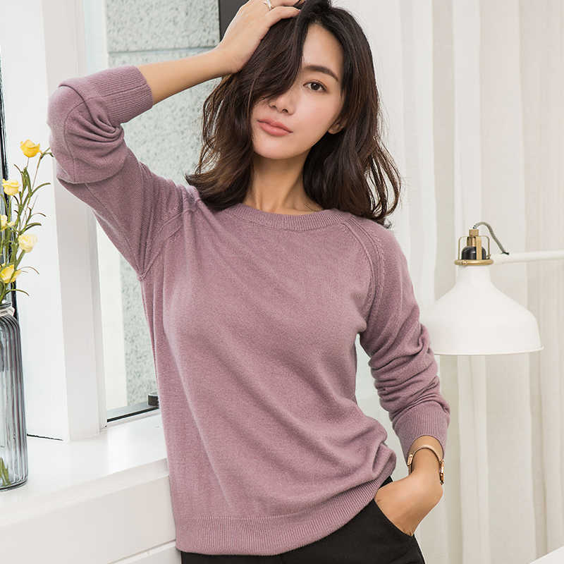 autumn and winter new style women's clothing round neck solid color soft pullovers female 100% pure cashmere sweater