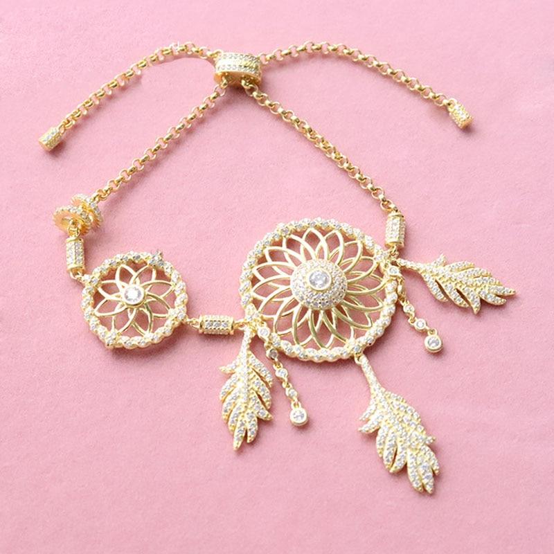 SLJELY 925 Sterling Silver Yellow Gold Color CZ Zircon Dream Catcher Bracelet Leaves Dreamcatcher Women France