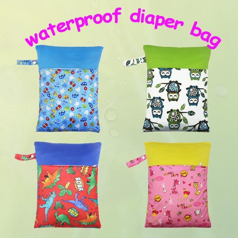 1PC Reusable Waterproof Printed PUL Diaper Wet Bag Double Pocket,Cloth Handle,30*40CM Wholesale Selling