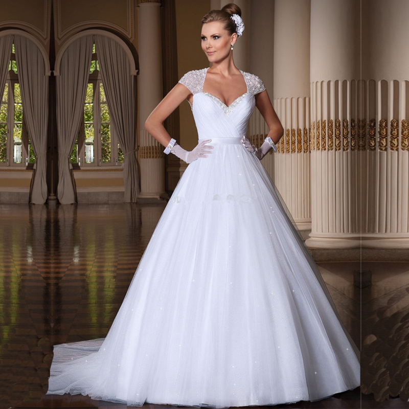 Ball Gown Robe De Mariee Sweetheart Cap Sleeve Beaded Crystal Appliques Vestido De Noiva Sexy Backless Wedding Dresses