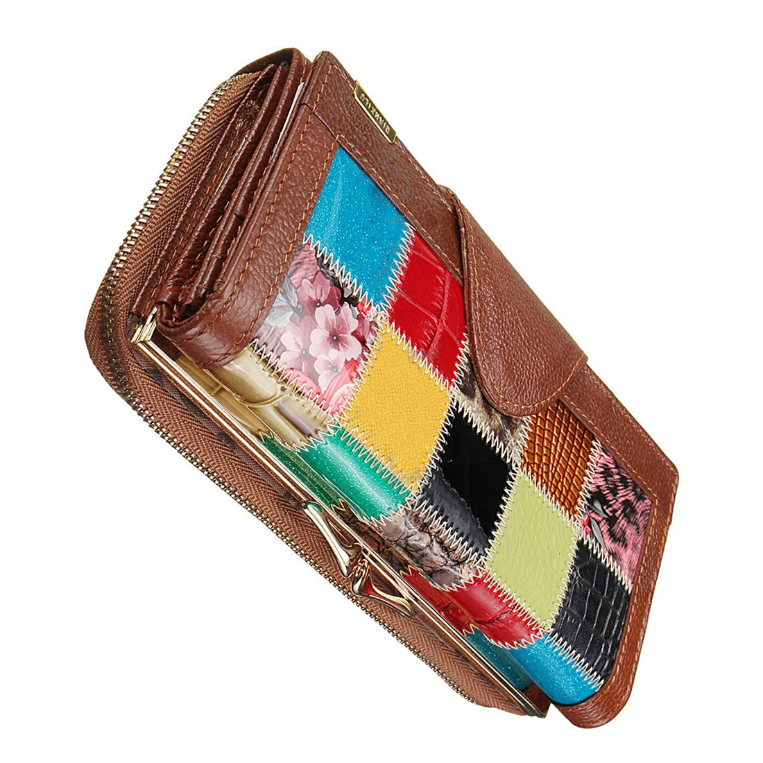 TFTP-Women Ladies Leather Patchwork Wallet Long Zip Purse Card Holder Clutch Handbag