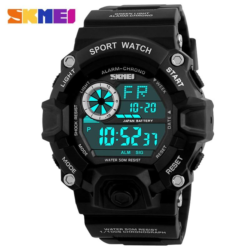 SKMEI Men Digital Sports Watches LED Military swim Wristwatches waterproof alarm chronograph rubber strap relogio masculino