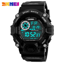 SKMEI Men Digital Sports Watches LED Military swim Wristwatches waterproof alarm chronograph  rubber strap  relogio masculino
