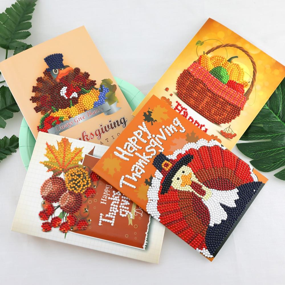 New Thanksgiving Diamond Painting Greeting Cards Cartoon Full Round Greeting Card Xmas Home Decoration