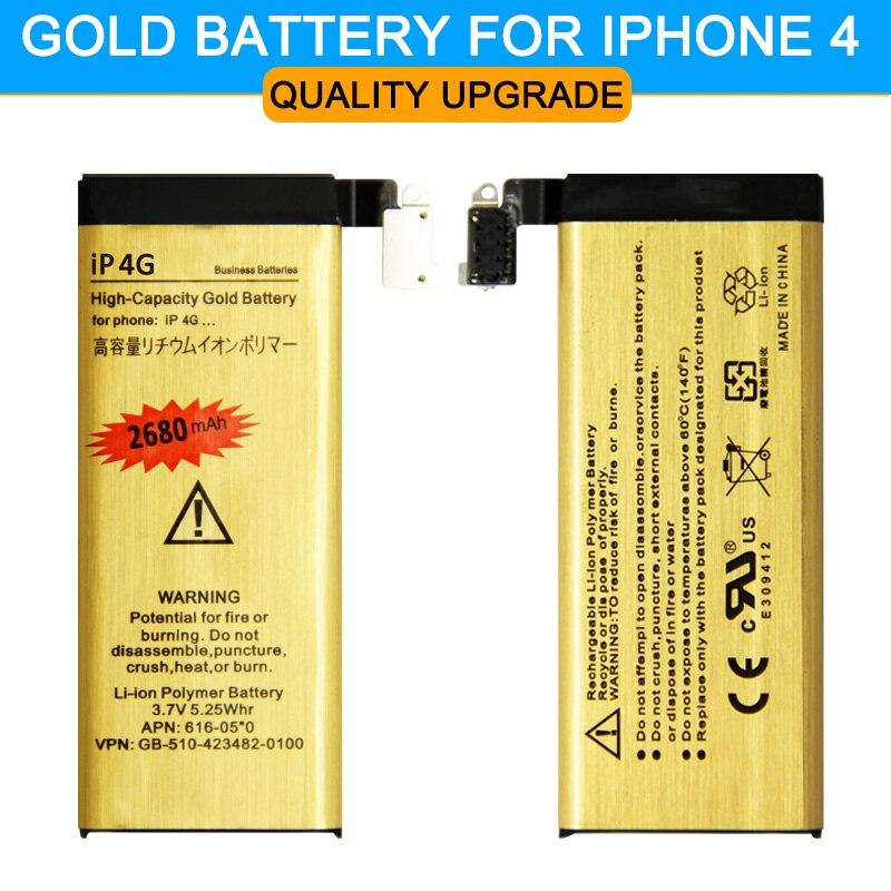 Vente chaude! d'origine VOL Or Haute Qualité Mobile téléphone batterie pour Apple iphone 4 iPhone4 4G IP-4G Batterie 2018 Nouveau