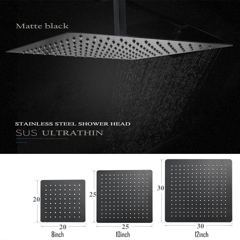 Black Round and Square Rain Shower Head Ultrathin 2 mm 8/9/10/12/16 Inch Choice Bathroom Wall & Ceiling Mounted stainless steel black bathroom ultrathin 2 mm rain shower head 8 10 12 inch wall