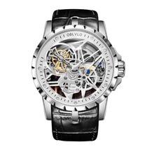 OBLVLO de trabajo abierto diseño relojes esqueleto Dial correa de piel de becerro reloj automático movimiento impermeable Montre Homme RM-1