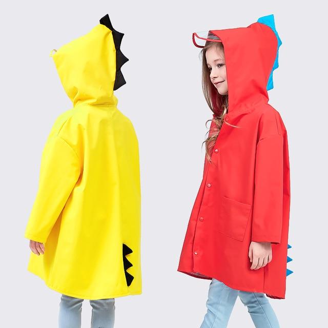 9935f92e6c8 Sale Cute Small Dinosaur Waterproof Polyester Rain Coat Boy Children Girls  Windproof Poncho Kindergarten Student Baby Raincoat