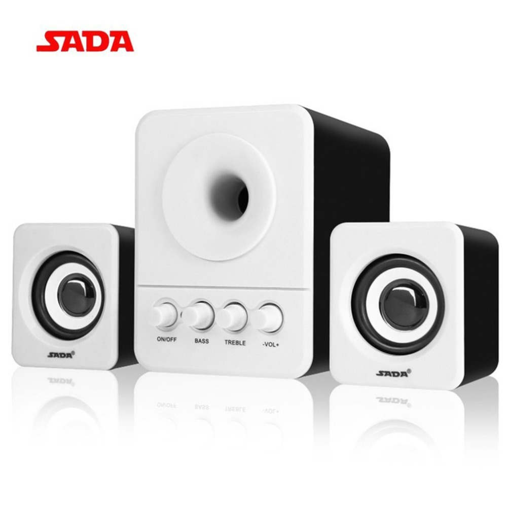 SADA D-203 Wired Mini Portable Combination Speaker Laptop Desktop Computer Mobile Phone Column Bass Cannon 3W PC Speakers цена
