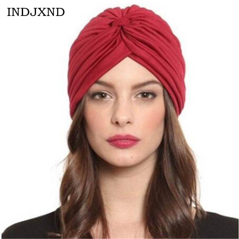 Unisex India Caps Women Turban Hat   Skullies     Beanies   Girls' Knitted Caps Men Hearing Protectors Hats Shower Cap Winter Solid M062