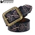 [TG] Aseguramiento de Calidad Nueva Llegada de La Manera Mujeres de Cuero del Cowskin Cinturón de Impresión de La Flor Diseñador Cinturones Casuales Las Mujeres de La Pretina