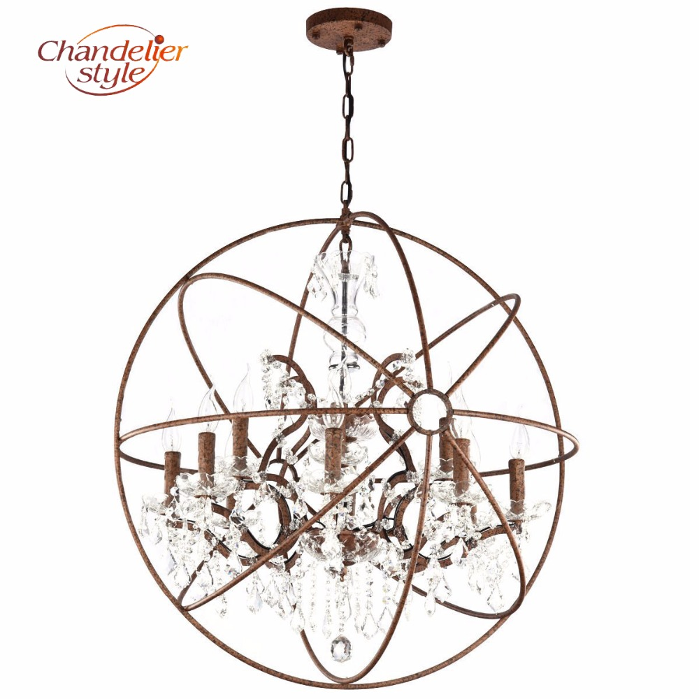 Orb Crystal Chandelier Lighting Retro Rustic Cristal Chandeliers Hanging Light Fixture for Living and Dining Room Decoration modern crystal chandelier led hanging lighting european style glass chandeliers light for living dining room restaurant decor