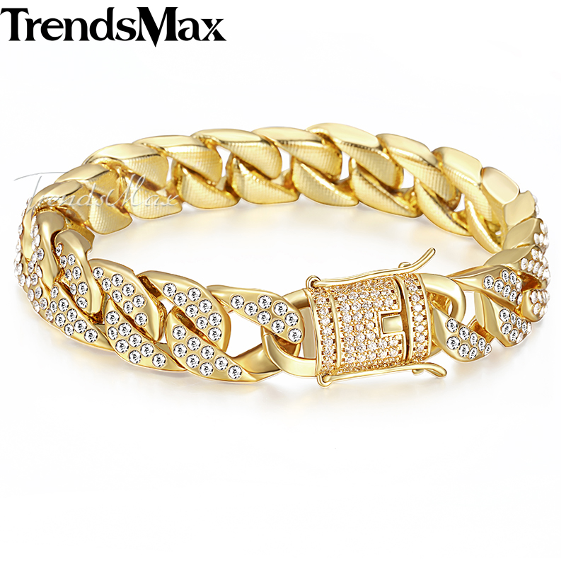 Mens Bracelet Hip Hop Miami Curb Cuban Link Chain Iced Out CZ Silver Gold Bracelets For Male Jewelry Dropshipping 14mm KGB409AMens Bracelet Hip Hop Miami Curb Cuban Link Chain Iced Out CZ Silver Gold Bracelets For Male Jewelry Dropshipping 14mm KGB409A