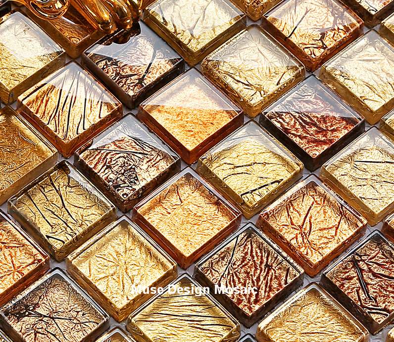 Diy Home Decor Copper Gold Foil Crystal Glass Mosaic Wall