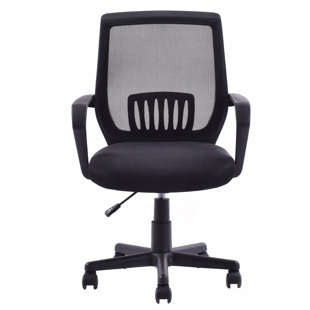 Goplus Modern Ergonomic Office Chair Mid Back Mesh Computer Desk Task Black Swivel Lift
