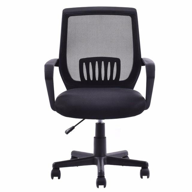 Goplus Modern Ergonomic Office Chair Mid Back Mesh Computer Desk Task Black  Swivel Lift Executive Chair Furniture HW56364