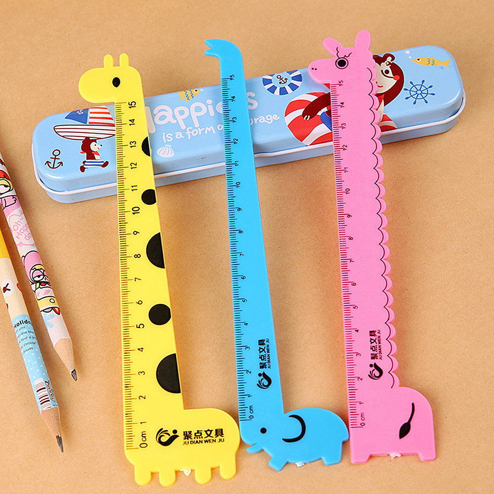 New Arrival 1PC Creative Straight Ruler Plastic Kawaii Tool Stationery Cartoon Drawing Gift Korean Office School Supplies(China)