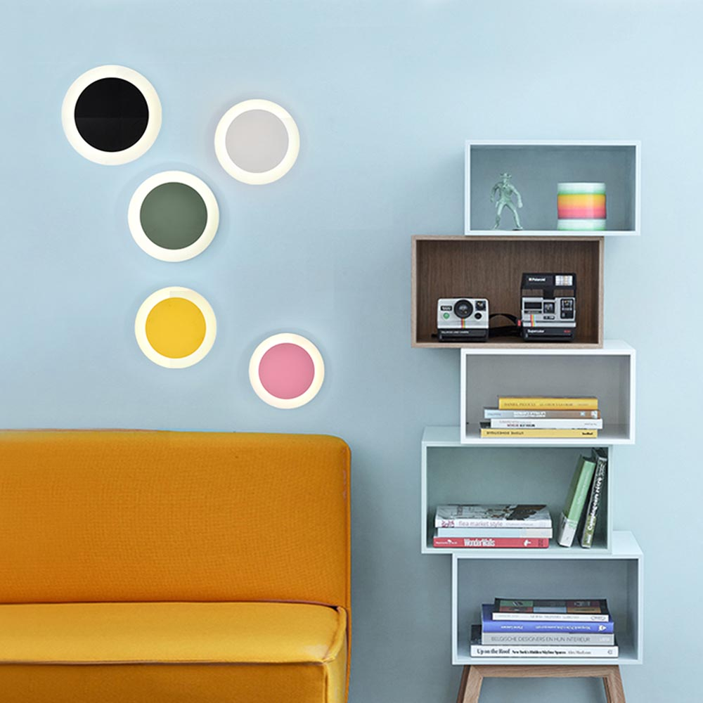 Modern Nordic Colorful Macaron Round LED Wall Sconce Light Home Porch Bedroom Bedside Wall Lamp Lighting Fixture Wall Decor Art modern nordic led wall sconce light home corridor porch bedroom bedside lamp hanging wall lamp light fixtures wall decor art