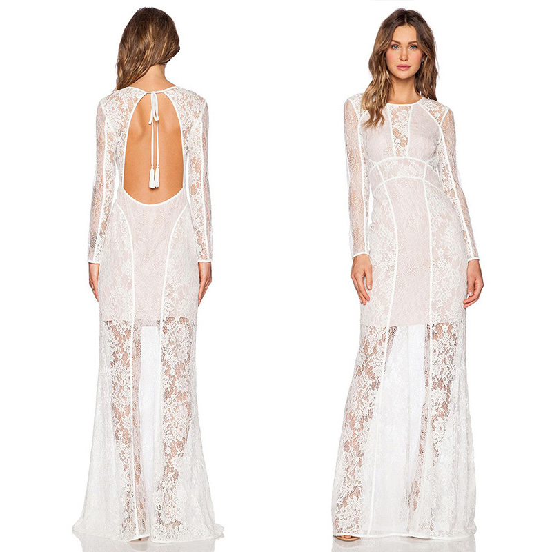 Sexy Backless White Lace O-neck Long Sleeve Maxi Dress Summer Elegant High Waist Floor-Length Party Dress 2018 Lange Jurken