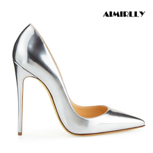 Aimirlly Women Pointed Toe High Heel Pumps Slip-On Metallic Mirror Patent Leather Wedding Party Dress Shoes Silver Light Gold fashion silver mirror leather high heel shoes women pointed toe pom pom cute pumps party shoes woman